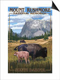 Mount Rushmore National Memorial, South Dakota - Bison Scene Posters by  Lantern Press