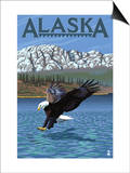 Alaska - Eagle Diving Art by  Lantern Press