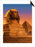 The Sphinx with the Pyramids of Giza in the Background Prints