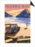 Morro Bay, CA - Woody on Beach Prints by  Lantern Press
