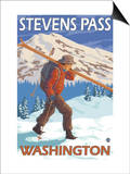 Skier Carrying Snow Skis, Stevens Pass, Washington Posters