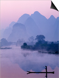 Li River and Limestone Mountains and River,Yangshou, Guangxi Province, China Prints by Steve Vidler