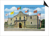 San Antonio, Texas - Exterior View of the Alamo under Six Different Flags, c.1940 Art by  Lantern Press