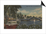 Ft. Lauderdale, FL - New River View & Drawbridge Prints by  Lantern Press
