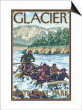 White Water Rafting, Glacier National Park, Montana Prints by  Lantern Press