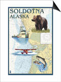 Soldotna, Alaska - Nautical Chart Poster by  Lantern Press