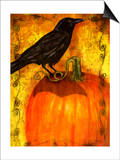 Crow Standing on Pumpkin Prints