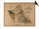Hawaii - Panoramic Oahu Island Map Prints
