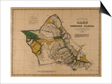 Hawaii - Panoramic Oahu Island Map Prints by  Lantern Press