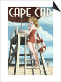 Cape Cod, Massachusetts - Llifeguard Pinup Girl Prints by  Lantern Press
