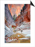 Zion National Park - Slot Canyon Print by  Lantern Press