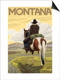 Cowboy & Horse, Montana Prints by  Lantern Press