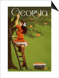 Georgia Peach Orchard Pinup Girl Prints by  Lantern Press