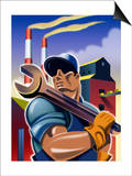 Man Holding Wrench in Front of Factory, Labor Day Posters