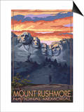 Mount Rushmore National Memorial, South Dakota - Sunset View Posters by  Lantern Press