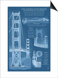 San Francisco, CA, Golden Gate Bridge Technical Blueprint Poster