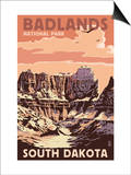Badlands National Park, South Dakota - Castle Rock Art by  Lantern Press