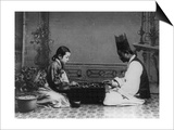 Korean Man and Woman Playing a Game Photograph - Korea Posters