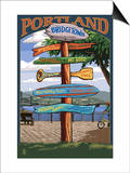 Portland, Oregon Destinations Sign Print by  Lantern Press