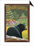 Pennsylvania - Bear in Forest Print by  Lantern Press