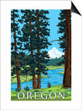 Mt. Hood and River - Oregon Scene Posters by  Lantern Press