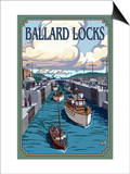 Ballard Locks and Boats, Seattle, Washington Posters by  Lantern Press