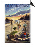 Oregon Coast - Clam Diggers Poster by  Lantern Press