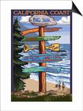Big Sur, California - Destination Sign Posters