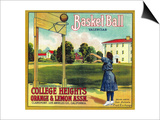 Basketball Orange Label - Claremont, CA Prints by  Lantern Press