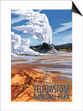 Castle Geyser - Yellowstone National Park Art by  Lantern Press
