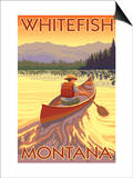 Whitefish, Montana - Canoe Scene Posters by  Lantern Press