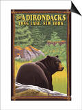 The Adirondacks - Long Lake, New York State - Black Bear in Forest Posters by  Lantern Press