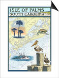 Isle of Palms, South Carolina - Nautical Chart Print by  Lantern Press