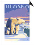 Alaska - Polar Bear at Sunrise Prints by  Lantern Press