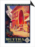 India - Muttra Krishna Temple Travel Poster Posters