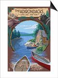 The Adirondacks - Long Lake, New York State - Montage Art by  Lantern Press