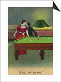 A Kiss off the Red, Couple Kissing Before Pool Shot Poster by  Lantern Press