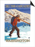 Ski the Cascades, Cascade Mountains, Washington Print by  Lantern Press