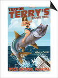 Boca Grande, Florida - Pinup Girl Tarpon Fishing Poster by  Lantern Press