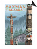 Saxman, Alaska - Totem Scene Prints by  Lantern Press