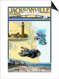 Jacksonville, Florida - Nautical Chart Art by  Lantern Press