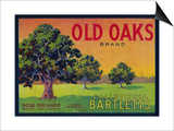 Old Oaks Pear Crate Label - Bryte, CA Prints by  Lantern Press