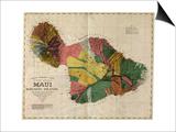 Hawaii - Panoramic Maui Island Map Art