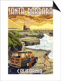 Santa Barbara, California - Woody and Lighthouse Print by  Lantern Press