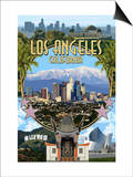 Los Angeles, California - Montage Prints by  Lantern Press