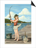 Pinup Girl Fishing on Lake Posters by  Lantern Press