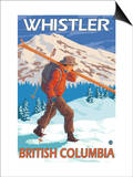 Skier Carrying Snow Skis, Whistler, BC Canada Poster