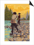 Women Fly Fishing, Mt. Rainier National Park, Washington Prints by  Lantern Press