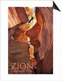 Zion National Park - Canyoneering Scene Poster by  Lantern Press