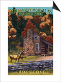 Cades Cove and John Oliver Cabin - Great Smoky Mountains National Park, TN Prints by  Lantern Press